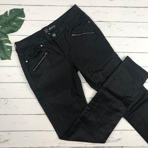 New York & Company Shiny Black Moto Jeans Size 2